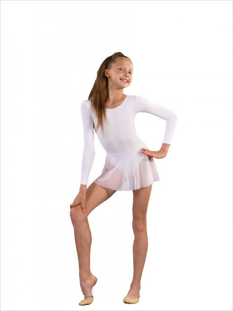 Купальник с юбочкой для танцев FD 962 чёрный, белый