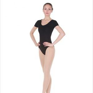 Купальник с коротким рукавом для гимнастики и танцев белый, чёрный FD926