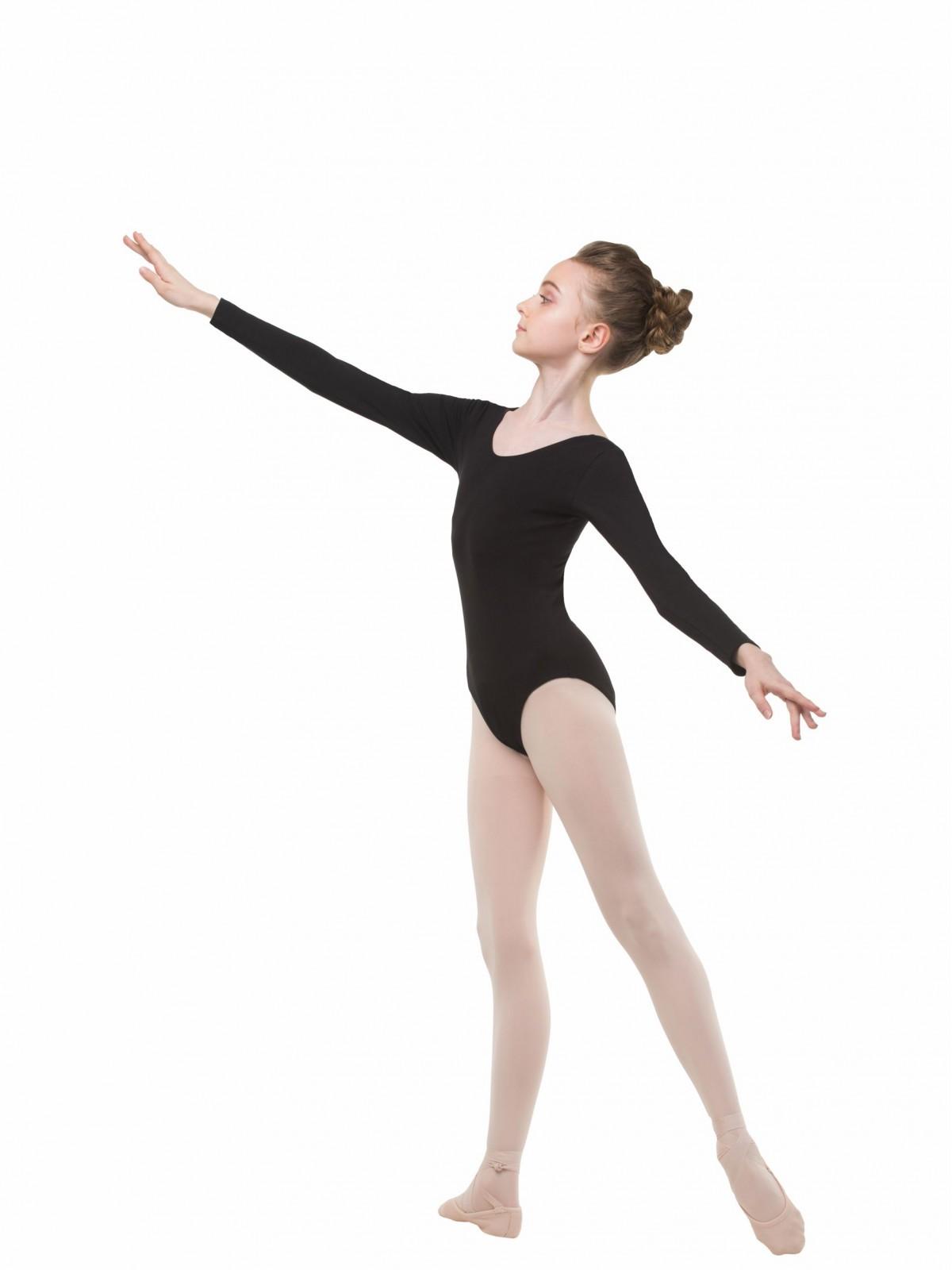Купальник с длинным рукавом для танцев чёрный Solo FD951 - 26