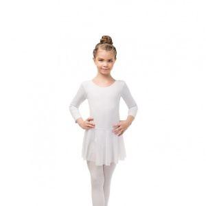 Купальник с юбочкой для танцев с рукавом 3/4 белый, чёрный Solo  FD960